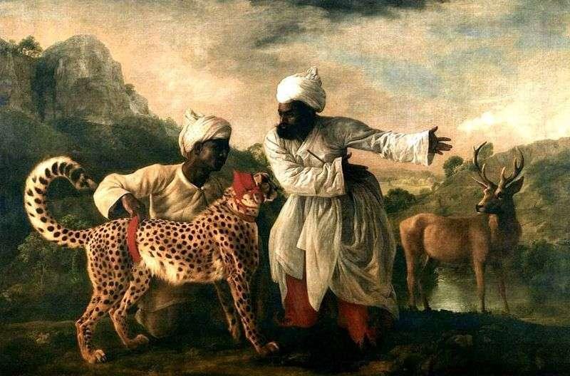 Гепард і олень з двома індусами   Джордж Стаббс