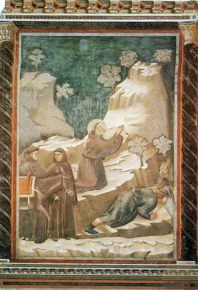 Святий Франциск виливає воду з скелі   Джотто ді Бондоне