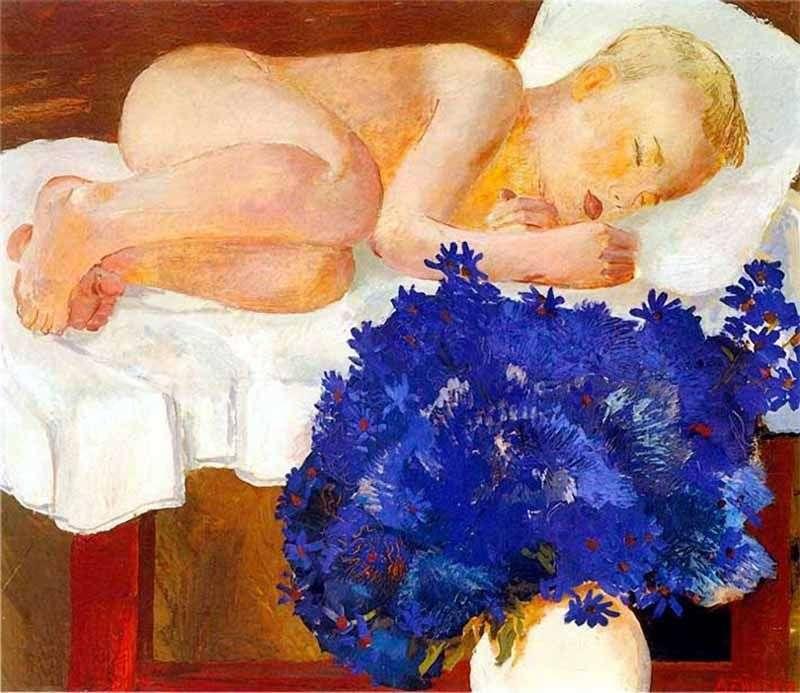 Сплячий дитина з волошками   Олександр Дейнека