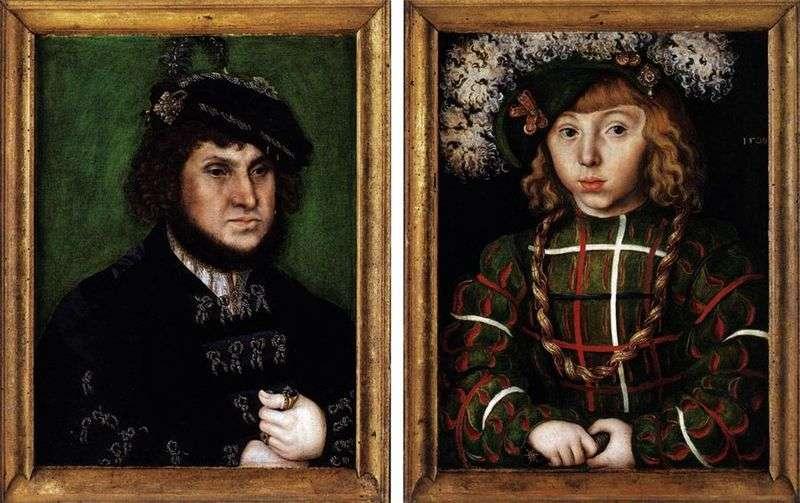 Подвійний портрет Йоганн Твердий і його син Іоганн Фрідріх   Лукас Кранах