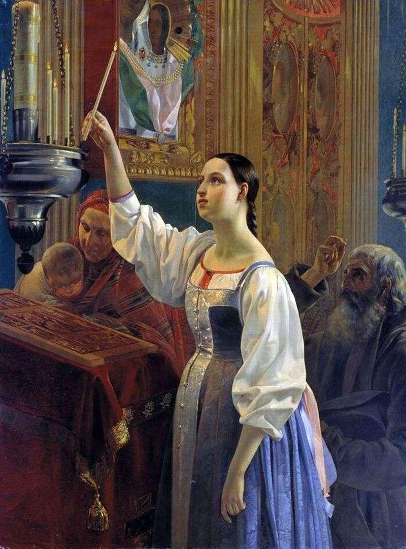 Дівчина, яка ставить свічку перед образом   Григорій Михайлов