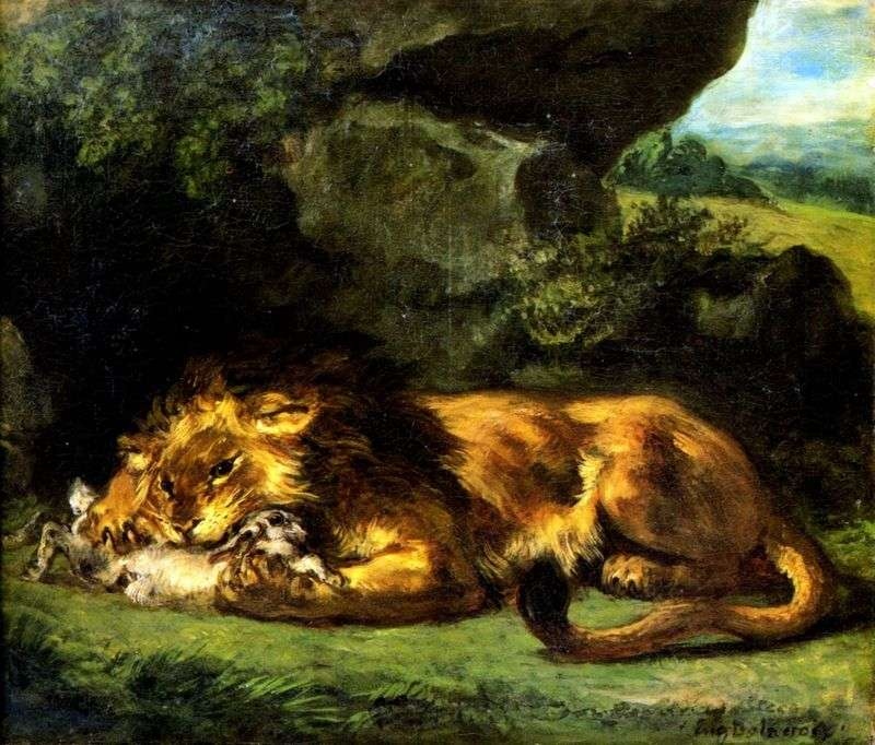 Лев, що пожирає кролика   Ежен Делакруа
