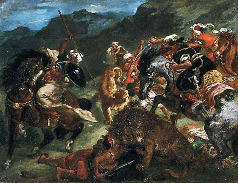 Левова полювання   Ежен Делакруа