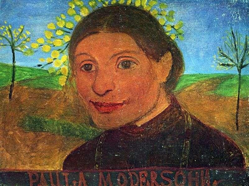 Автопортрет на тлі квітучих дерев   Паула Модерзон Беккер