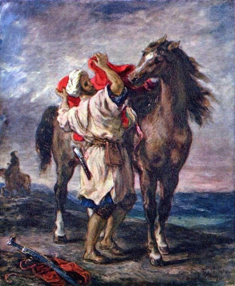 Марокканець, седлающий коня   Ежен Делакруа