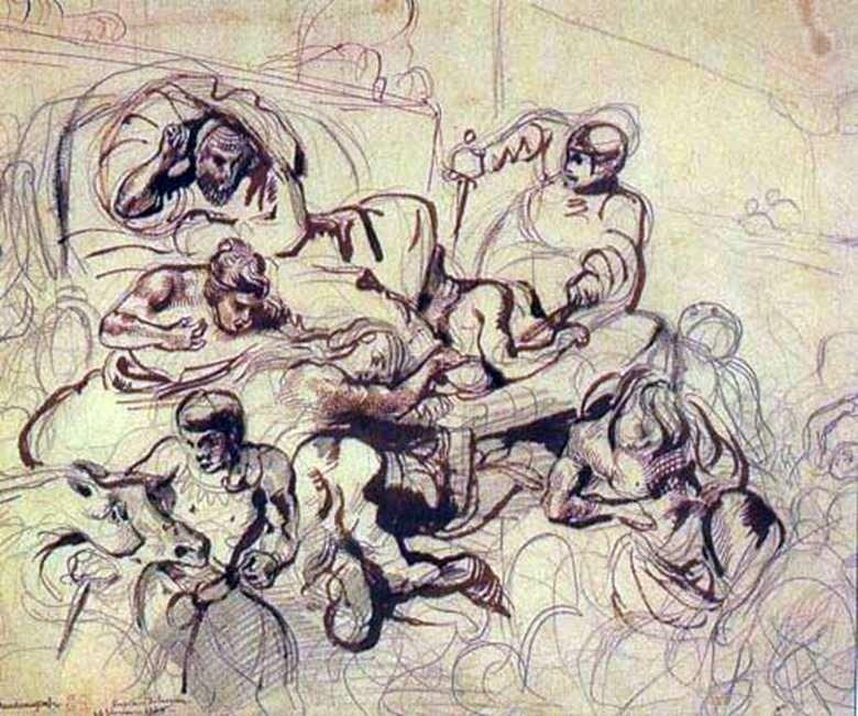 Ескіз до картини Смерть Сарданапала   Ежен Делакруа