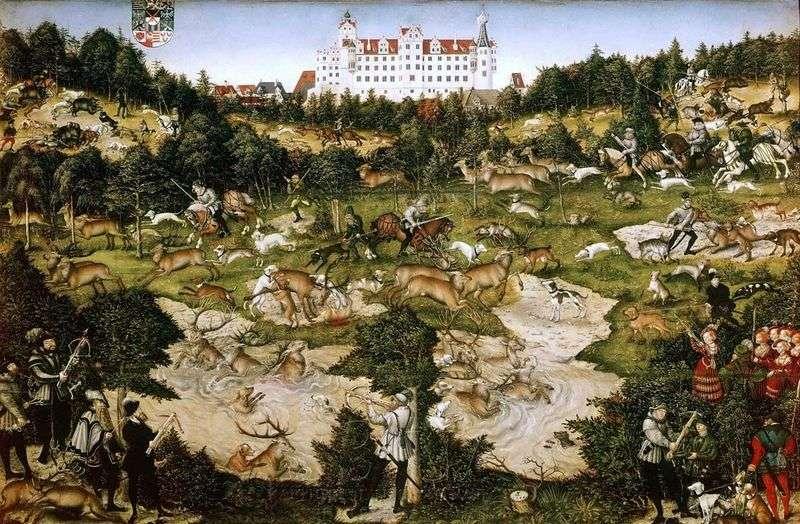 Оленяча полювання короля Карла V поблизу замку Торгау   Лукас Кранах