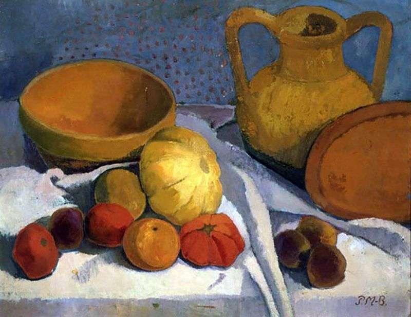 Натюрморт з жовтим шаром і глиняним глечиком   Паула Модерзон Беккер