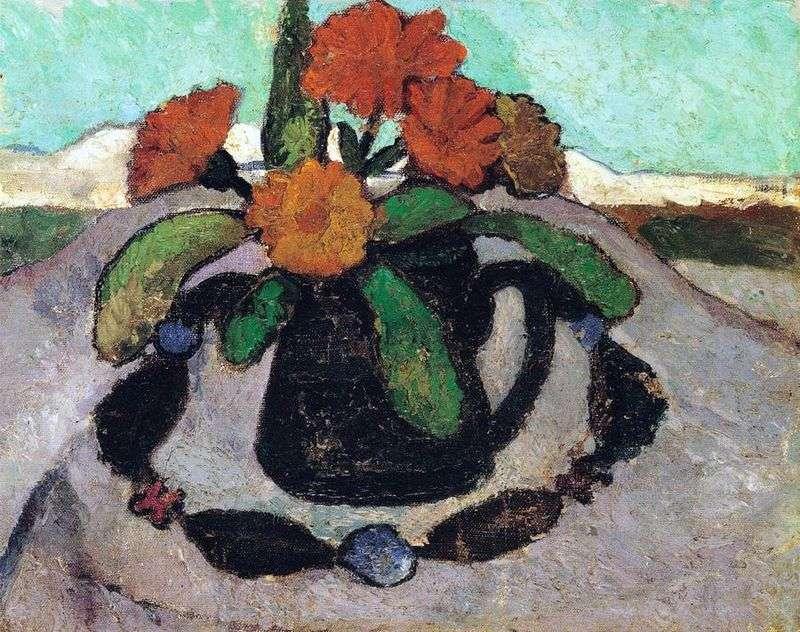 Натюрморт з трояндами на тлі пейзажу   Паула Модерзон Беккер