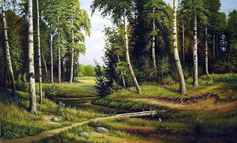Струмок у березовому лісі   Іван Шишкін