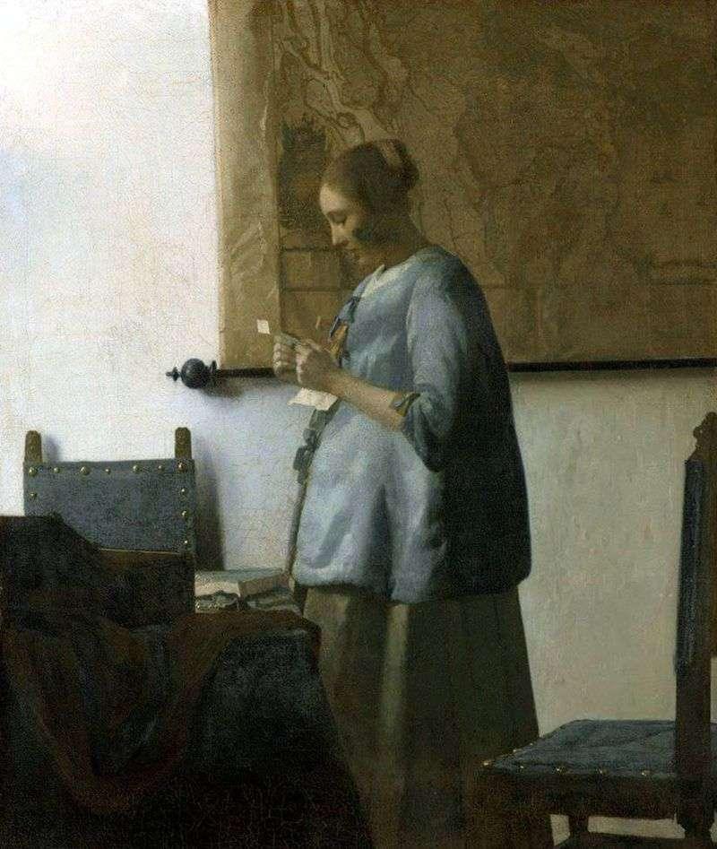 Дама в блакитному, читає лист   Ян Вермеер