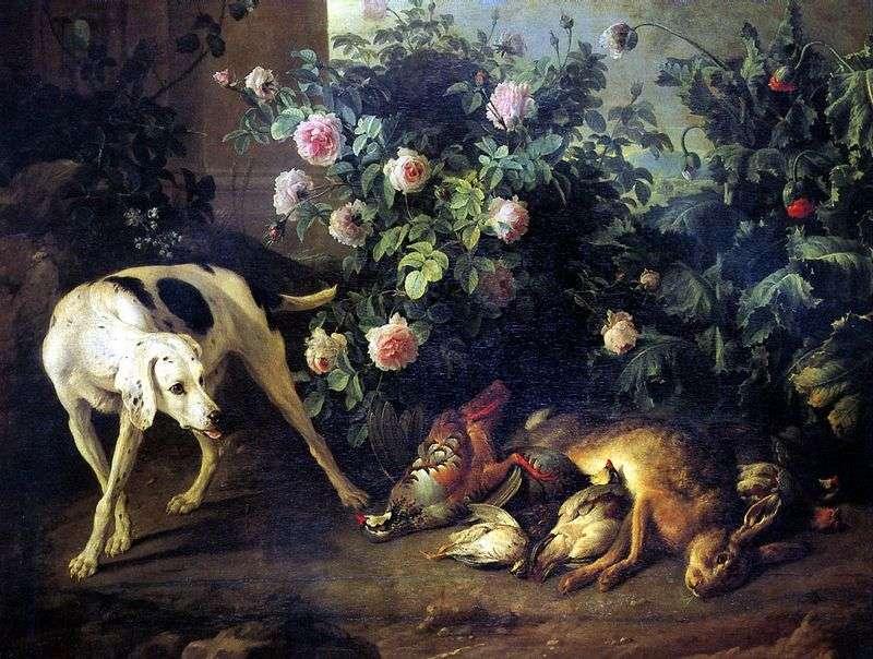 Натюрморт з собакою і битою дичиною у рожевого куща   Франсуа Депорт