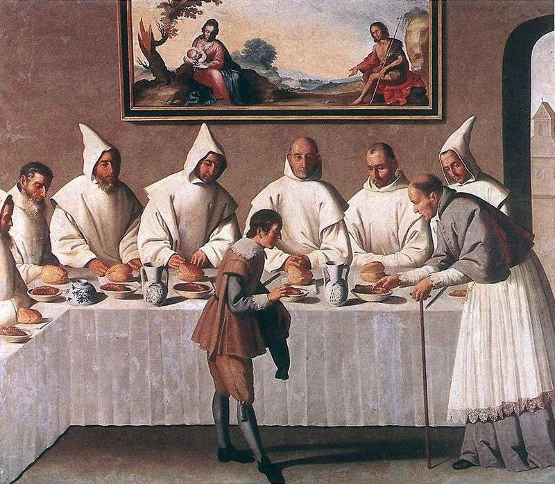 Диво св. Гуго Гренобльському в трапезній монастиря   Франсиско де Сурбаран