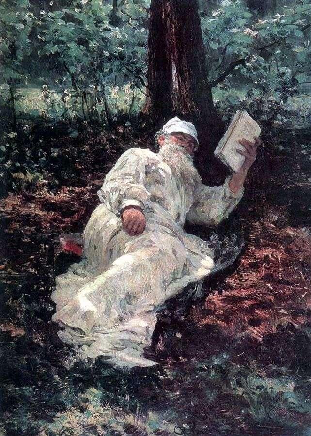 Л. Н. Толстой на відпочинку в лісі   Ілля Рєпін