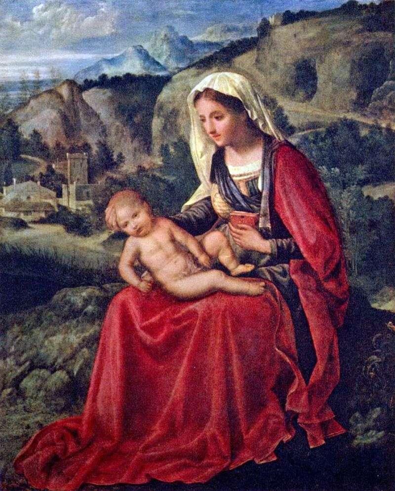 Діва Марія з немовлям на тлі пейзажу   Джорджоне