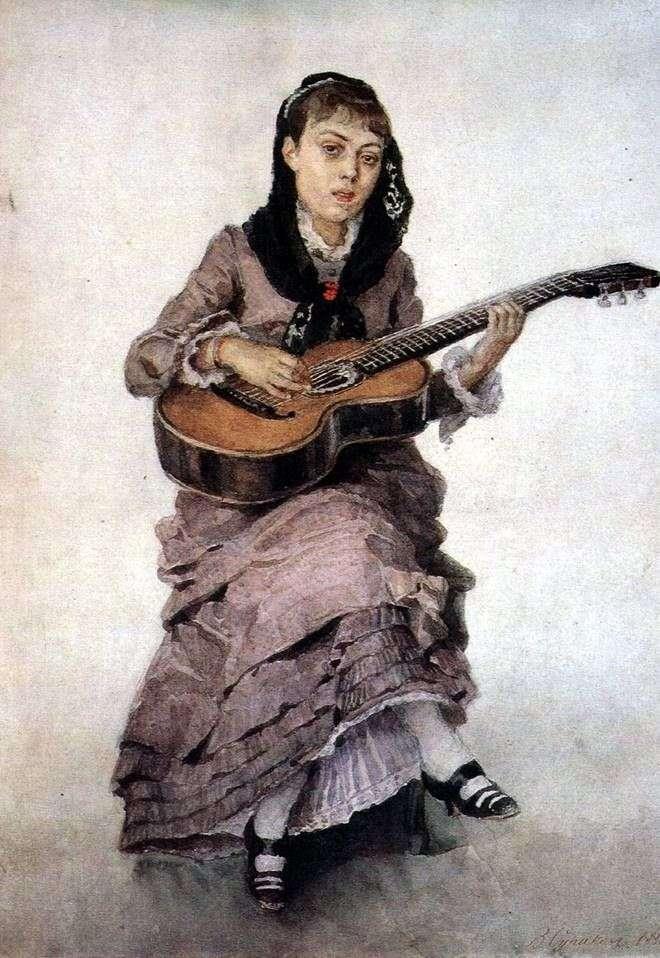 Портрет княгині С. А. Кропоткиной c гітарою   Василь Суріков