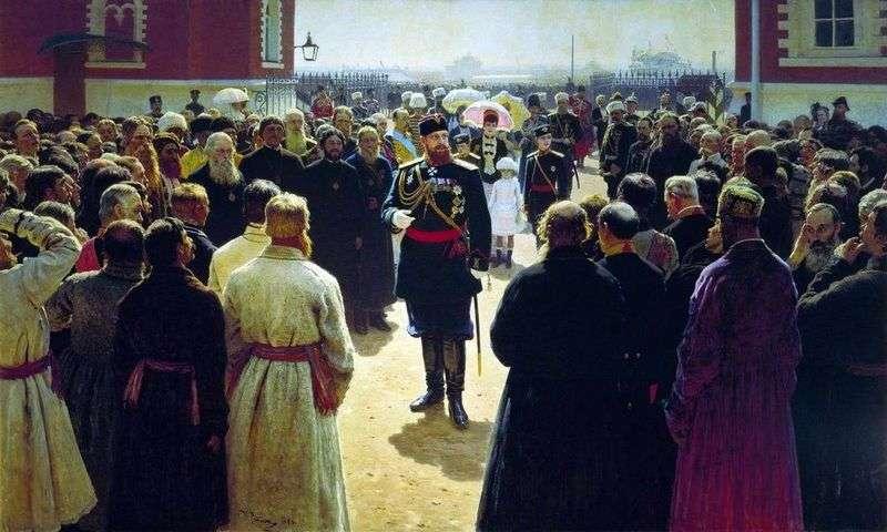 Прийом волосних старшин імператором Олександром III у дворі Петровського палацу в Москві   Ілля Рєпін