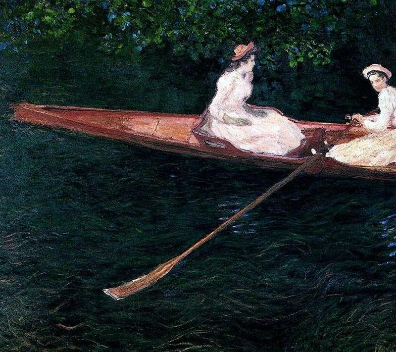 Дівчата пливуть у човні по річці Епт   Клод Моне