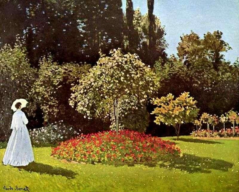 Дама в саду Сент Адреса (Жанна Маргарита Лекадр в саду)   Клод Моне