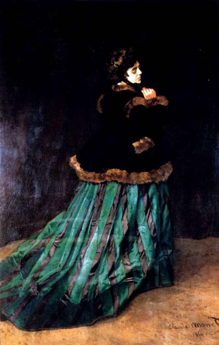 Жінка в зеленій сукні   Клод Моне