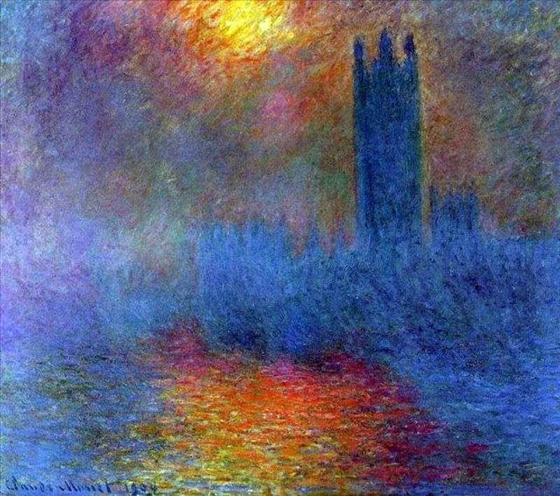 Будівля Парламенту, сонце просвечивающее крізь туман   Клод Моне