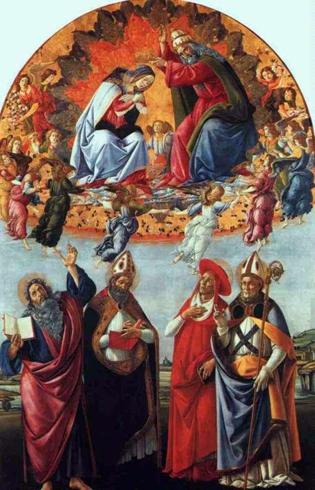 Вівтар Сан Марко, або Коронування Марії з ангелами, Євангелістом Іоанном і Святим Августином, Ієроніма і Элигием   Сандро Боттічеллі