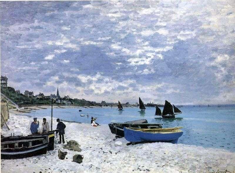 Пляж в Сент Адреси   Клод Моне