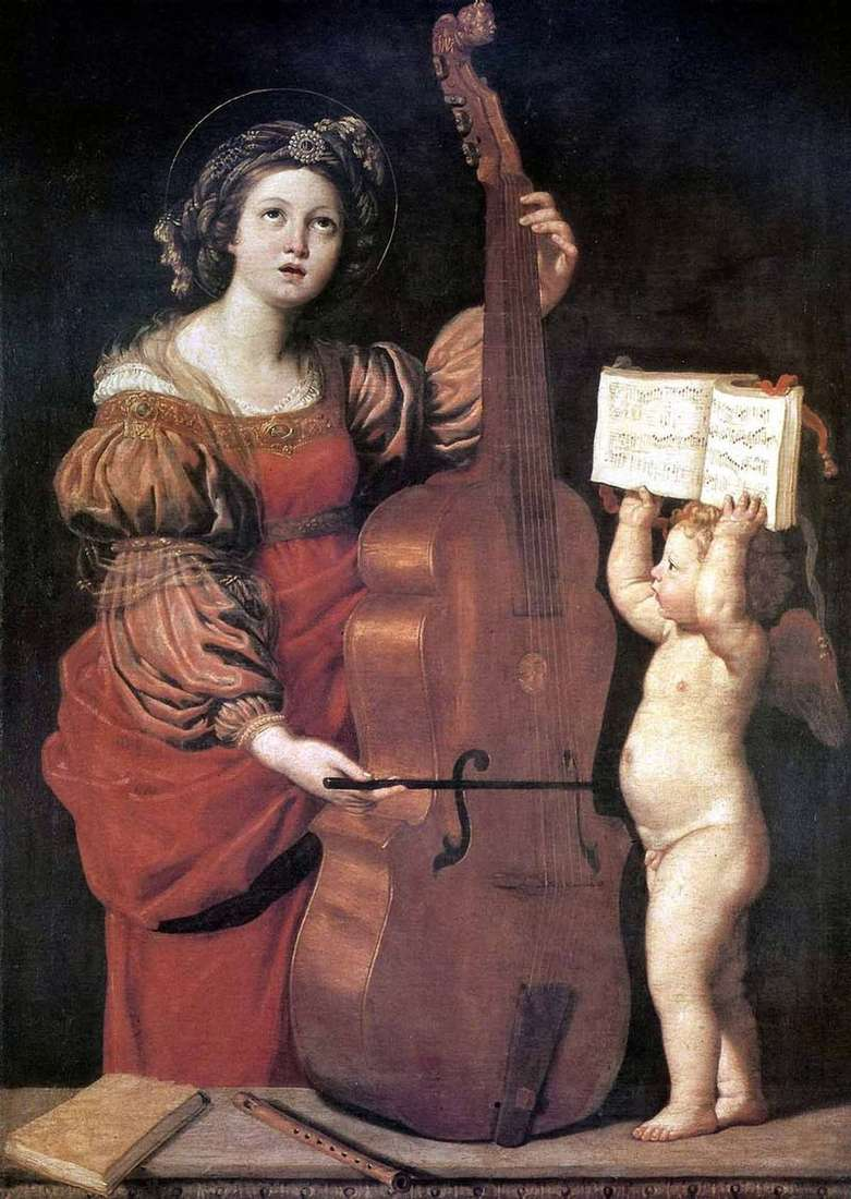 Музицирующая св. Цецилія з ангелом   Доменикино Дзампьери