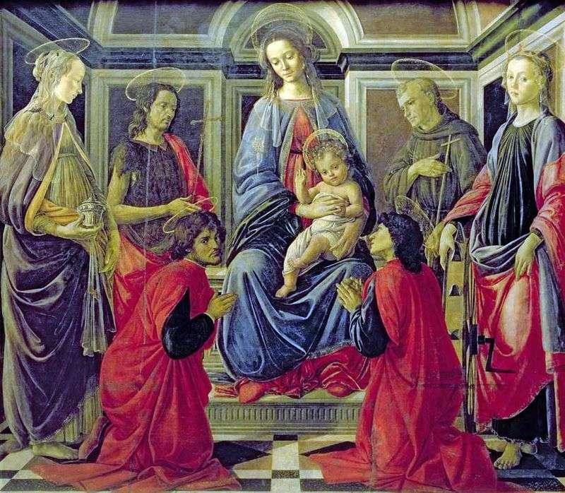 Мадонна з Немовлям і Святими Марією Магдалиною, Іоанном Хрестителем, Козьмой, Даміаном, Франциском Ассизским і Катериною Олександрійською   Сандро Боттічеллі
