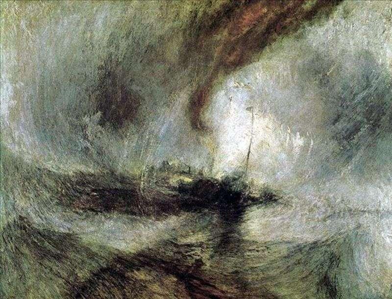 Снігова буря, пароплав виходить із гавані, подаючи сигнали на мілководді і вимірюючи глибину лотом   Вільям Тернер