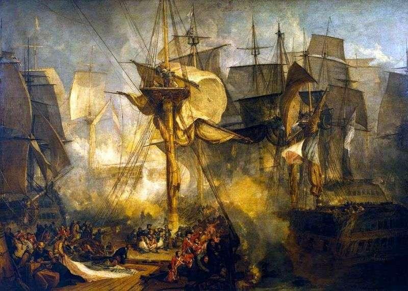 Трафальгарська битва, вид з вантів бізань щогли по правому борту корабля Вікторії   Вільям Тернер