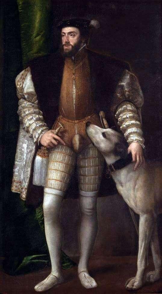Портрет Карла V з собакою   Тіціан Вечелліо