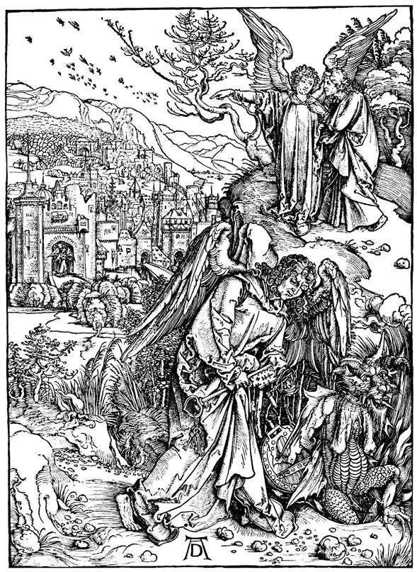 Ангел з ключем від Пекла. Гравюра   Альбрехт Дюрер