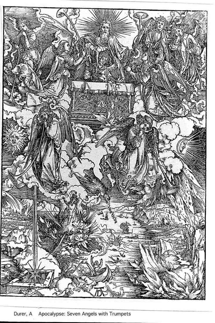 Ангели і сім труб. Гравюра   Альбрехт Дюрер