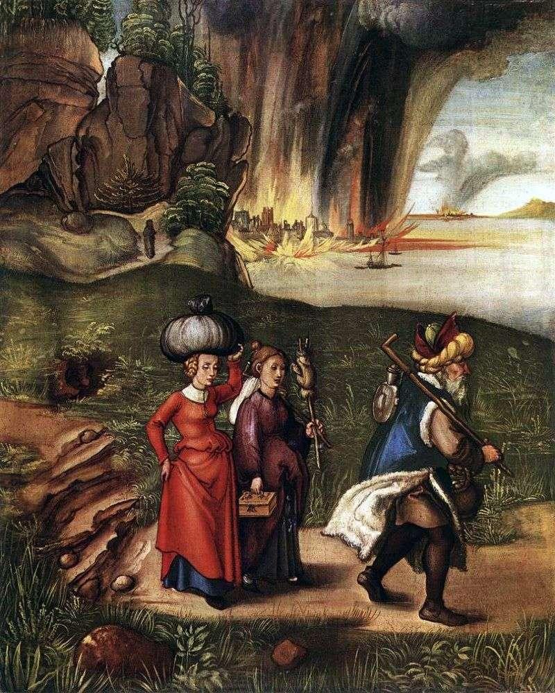 Втеча Лота з дочками Содому   Альбрехт Дюрер