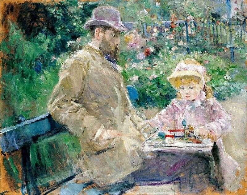 Ежен Мане з дочкою у Бужівале   Берта Морізо