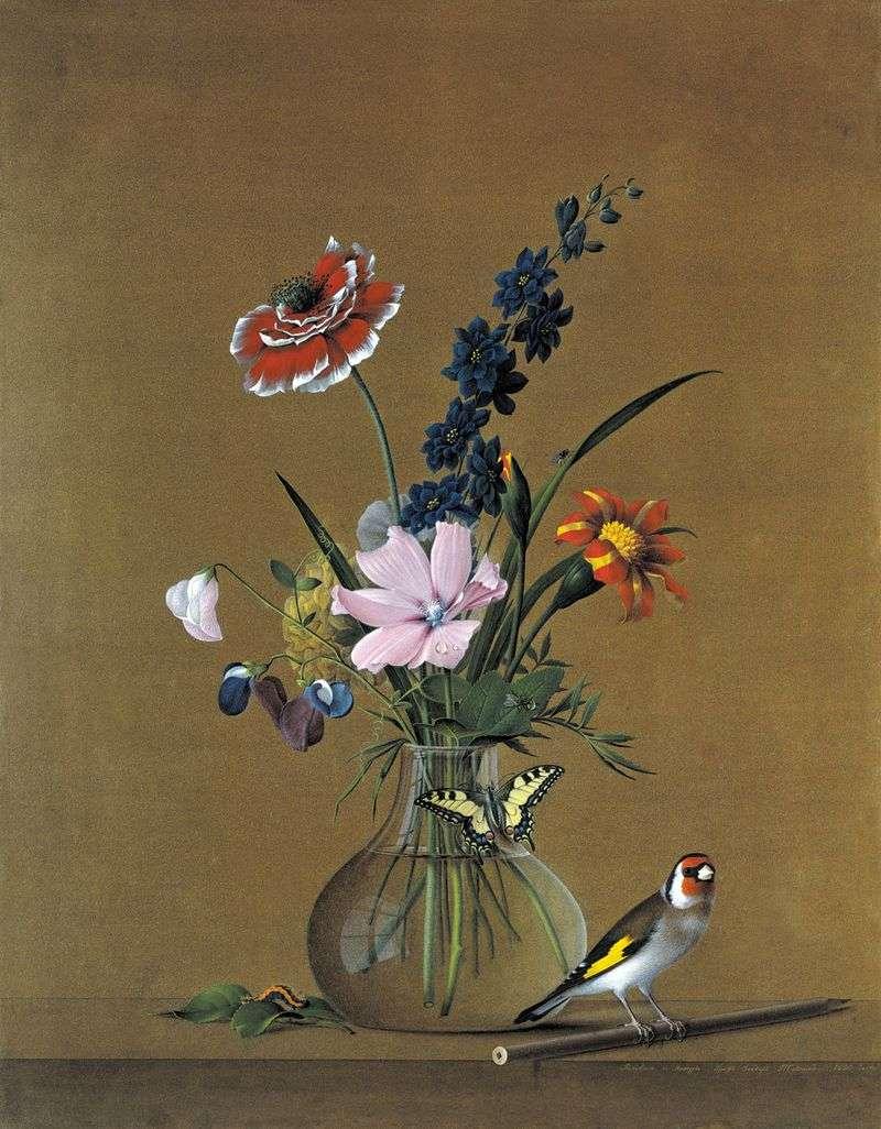 Букет квітів, метелик і пташка   Федір Толстой