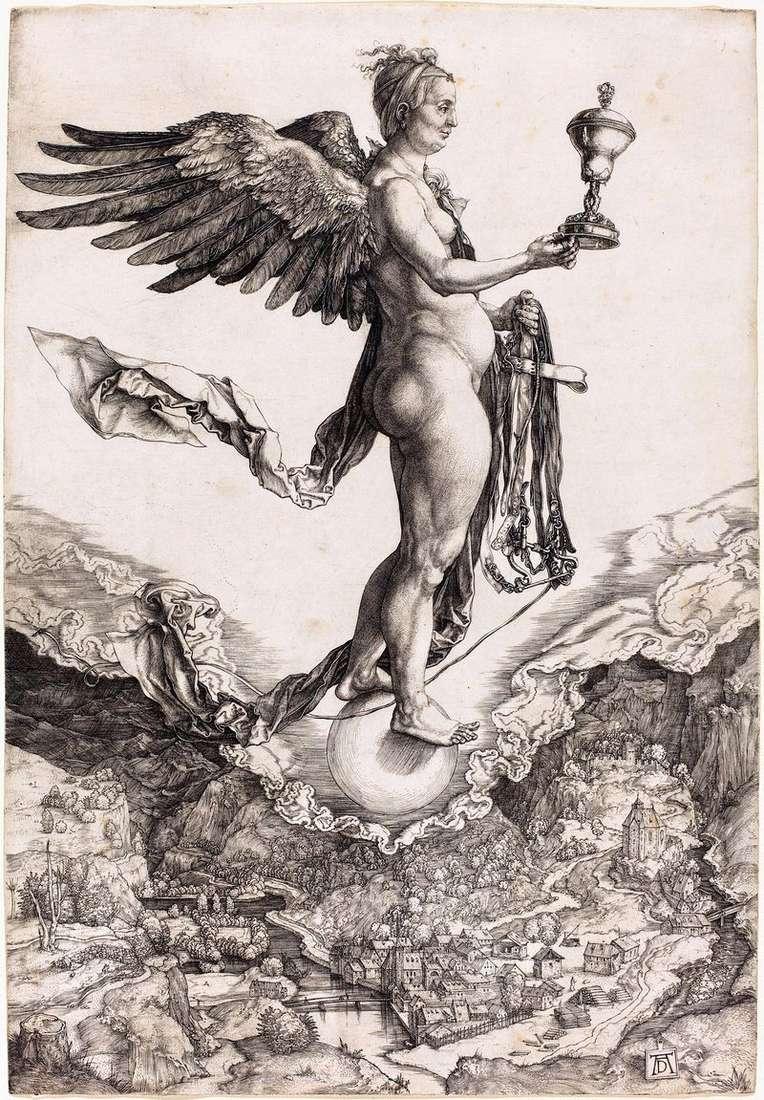 Немезіда чи Богиня Долі. Гравюра   Альбрехт Дюрер