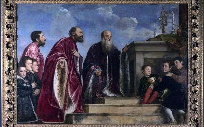 Члени сімї перед реліквією Святого Хреста   Тіціан Вечелліо