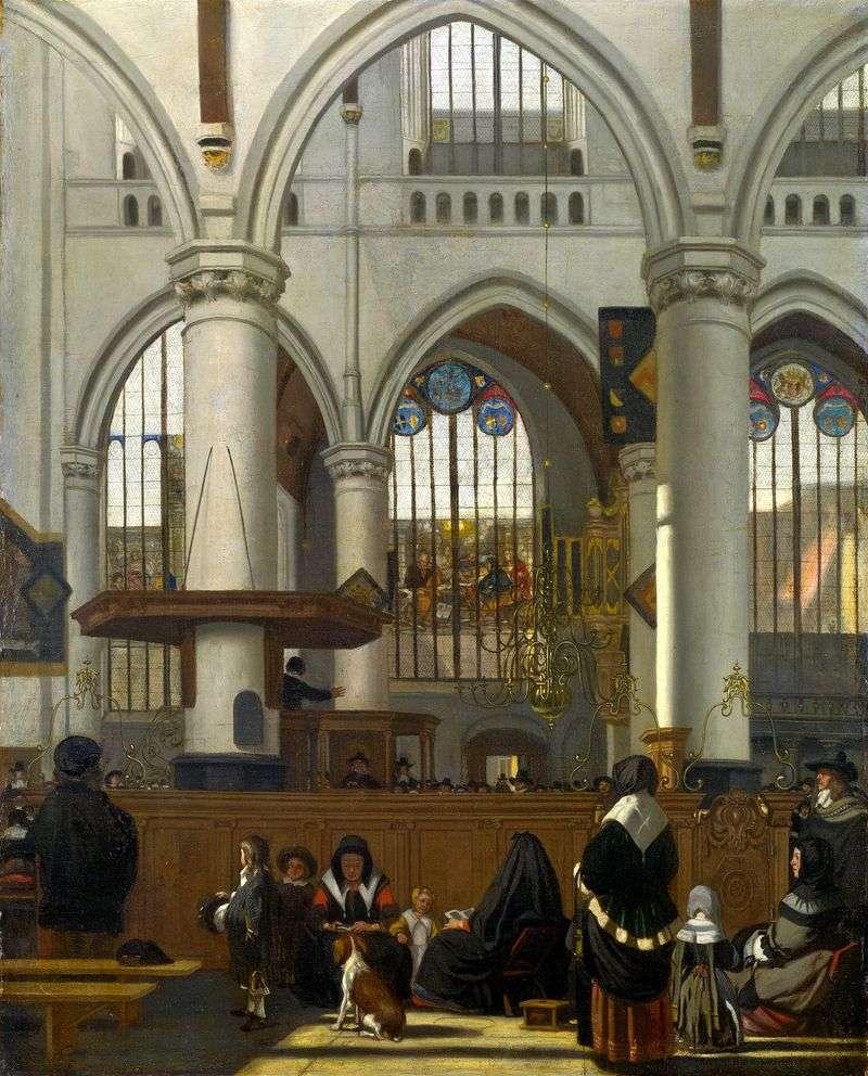 Інтерєр Старої церкви в Амстердамі під час служби   Эманюэл де Вітте