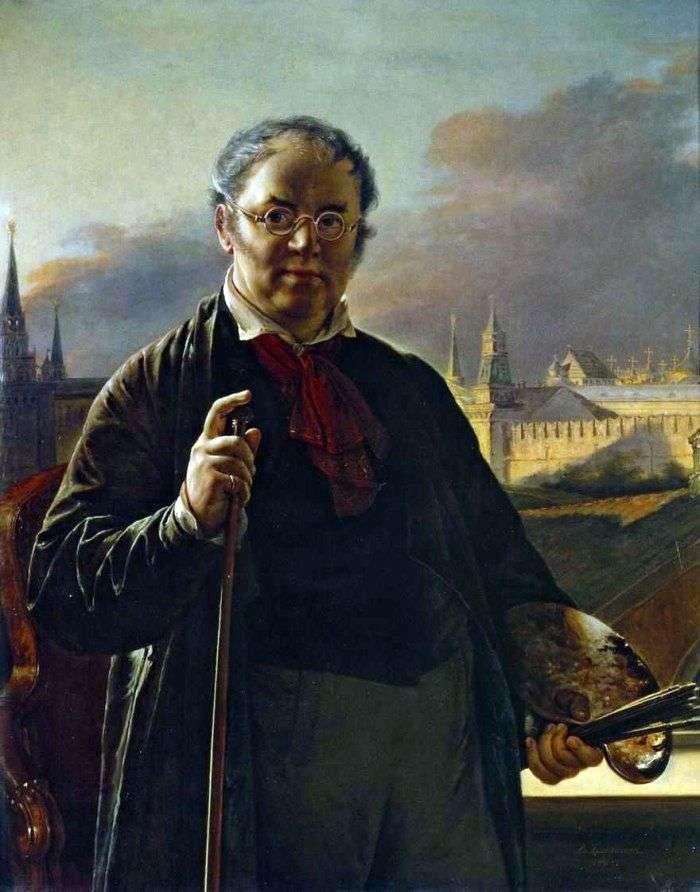 Автопортрет з китицями на тлі Московського Кремля   Василь Тропінін