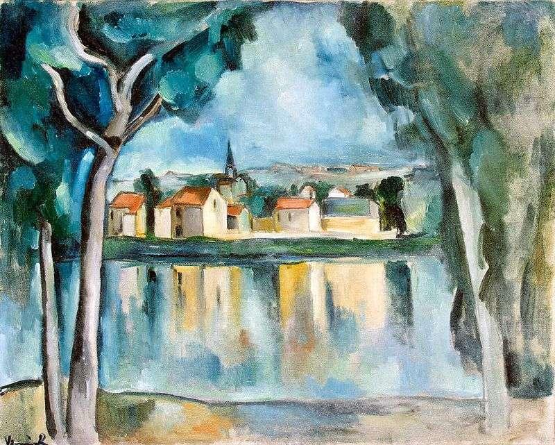 Містечко на березі озера   Моріс де Вламінк
