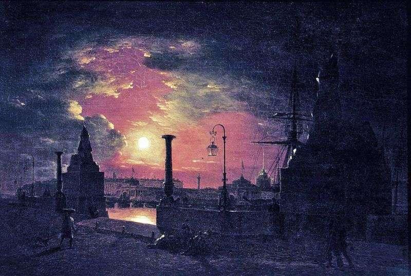 Осіння ніч в Петербурзі. Пристань з єгипетськими сфінксами на Неві вночі   Максим Воробйов