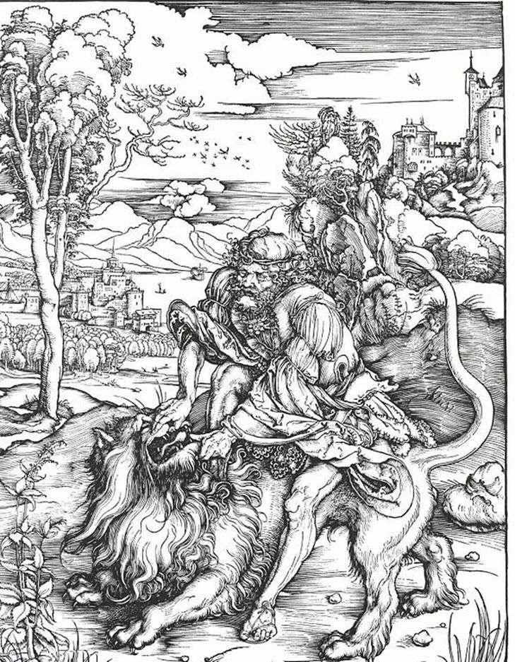Самсон вбиває лева   Альбрехт Дюрер