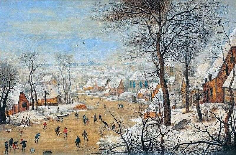 Пейзаж з ковзанярами і пасткою для птахів   Пітер Брейгель