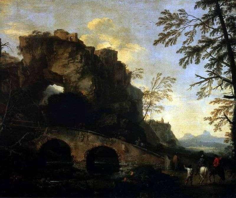 Пейзаж із зруйнованим мостом   Роза Сальваторе