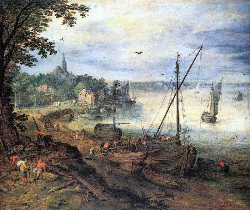 Річковий пейзаж з дроворубами   Ян Брейгель