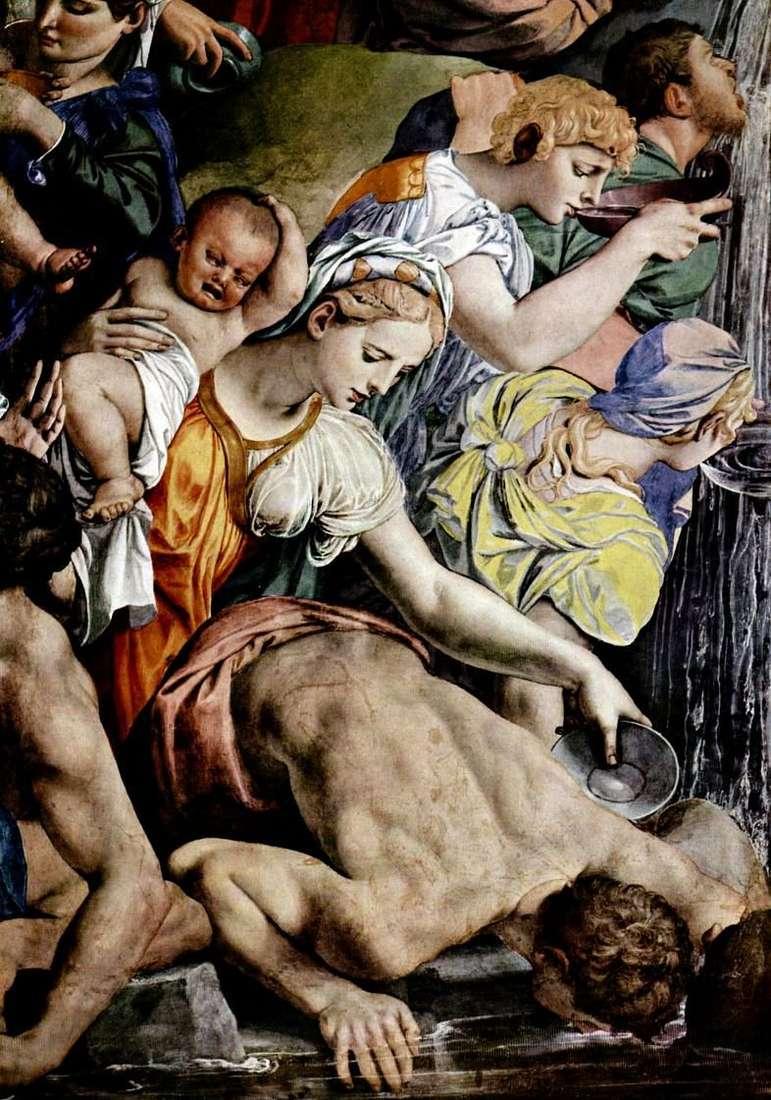 Мойсей уривається воду з скелі (фреска)   Аньоло Бронзіно